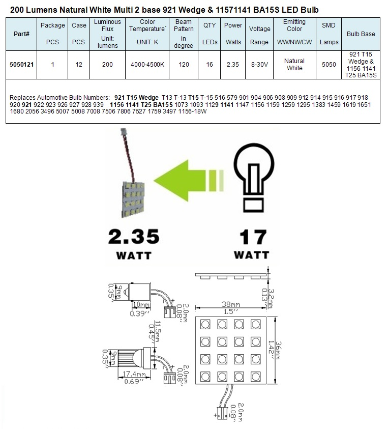 Light Bulb Bases Chart: Green LongLife 5050121 Multi Base Wedge RV LED Light Bulb