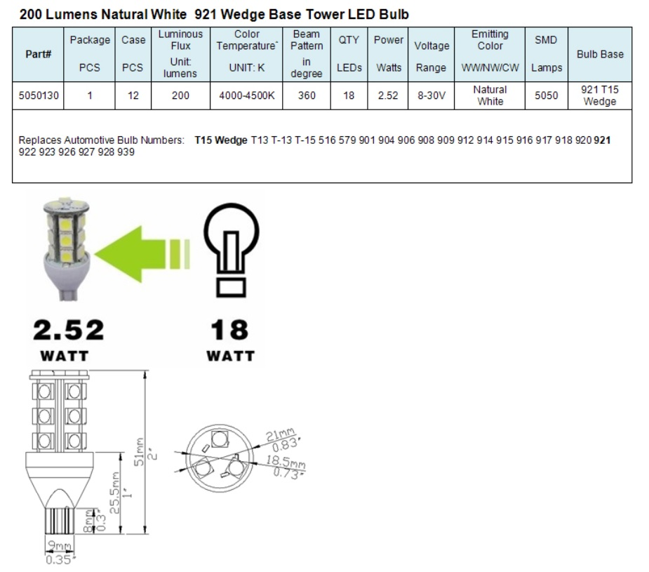 Light Bulb Bases Chart: Green LongLife 5050130 921 Wedge Base Tower RV LED Light