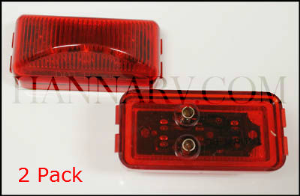 Triton 09653 Red 2.5 Inch Rectangle LED Clearance Sidemarker Light - 2 Pack
