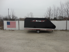 Triton Elite12-101 Aluminum Tilt Bed Snowmobile Trailer With Black Coverall 4x4 Access Door (10973)