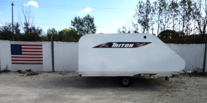 Triton XT11-101SQ Aluminum 11 Ft Snowmobile Trailer With White Coverall 4X4 Front Access Door & Shor