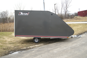Triton TC128 Hybrid Enclosed Aluminum Snowmobile & ATV Trailer - Gray