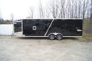 Amera-Lite ADXST727TA2 7x27 Wedge Nose Inline Snowmobile Trailer with Aluminum Wheels and 4 Foot Hel