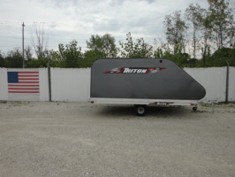 Triton XT11-101QP Aluminum 11 Ft Snowmobile Trailer With Grey Coverall 4X4 Front Access Door & Full