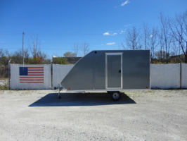 SNOPRO 101x12 Hybrid Aluminum Enclosed 2 Place Snowmobile Trailer - Charcoal Gray 00874
