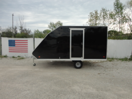 SNOPRO 101x12 Hybrid Aluminum Enclosed 2 Place Snowmobile Trailer with Upgraded Ramp Door - Black 01