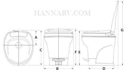 Thetford 31650 Aqua Magic V Toilet Low Profile Foot Flush