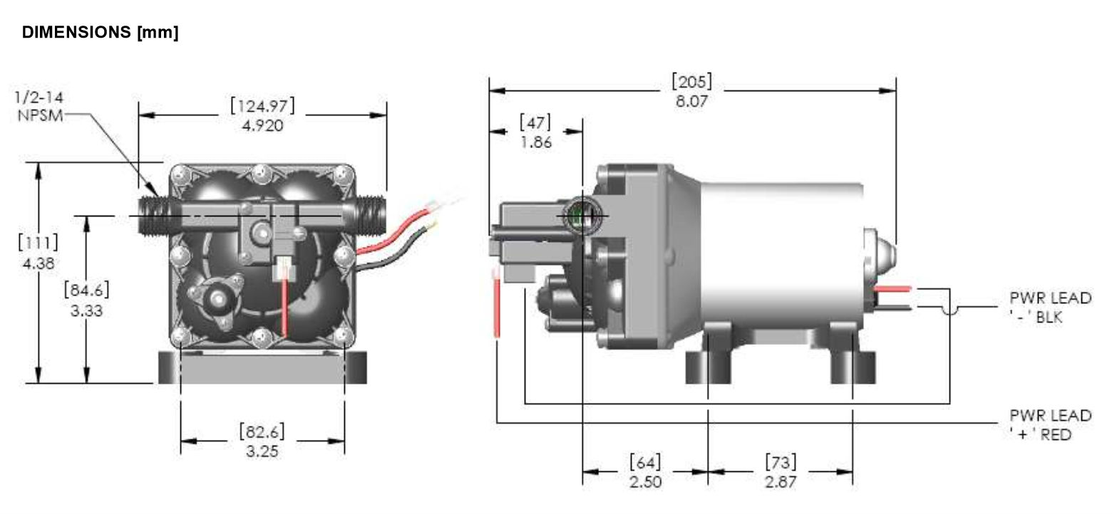 SHURflo 4008 101 E65 Revolution 4008 Series RV Fresh Water Pump 12 Volt DC Product Dimensions shurflo 4008 101 e65 revolution 4008 series rv fresh water pump 12 flojet rv waste pump diagram at soozxer.org
